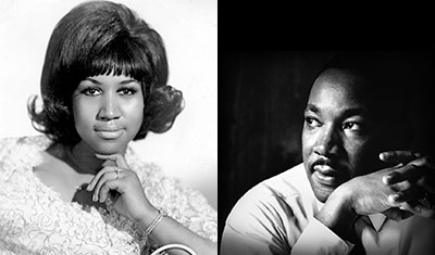 Photos: Aretha Franklin and Dr. Martin Luther King Jr.