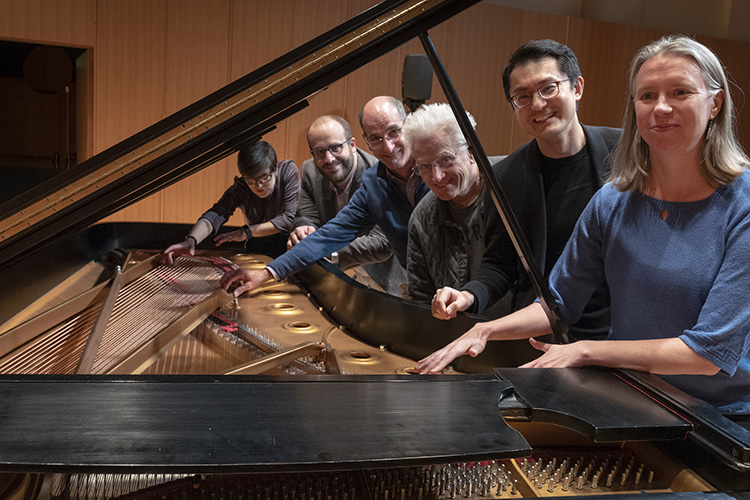 Composition faculty of MSU pictured left to right: Lyn Goeringer, David Biedenbender, Ricardo Lorenz, Mark Sullivan, Zhou Tian, and Alexis Bacon.
