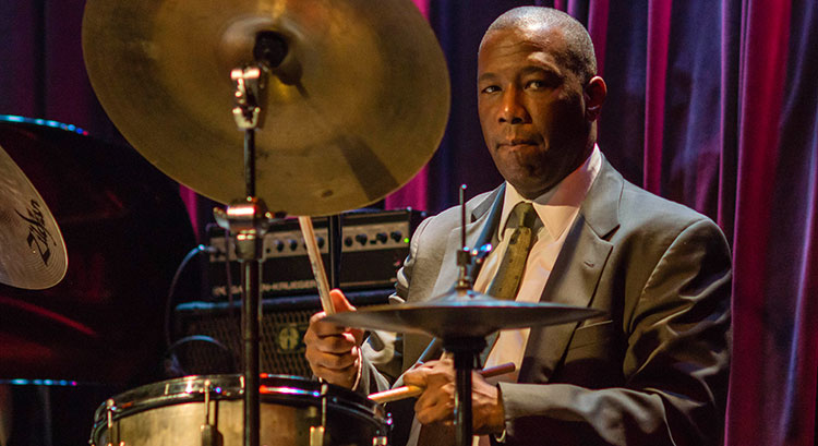 Photo: Jazz drummer Kenny Washington performing on stage.