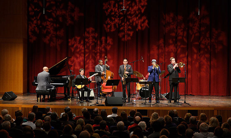 """The MSU Professors of Jazz perform the annual concert """"A Jazzy Little Christmas,"""" at the Fairchild Theatre of the MSU Auditorium."""