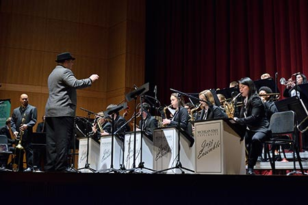 Photo: Jazz Orchestra 2 conducted by Michael Dease on stage at Fairchild Theatre.