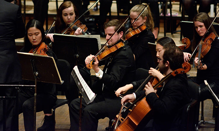 Photo: Members of the MSU Symphony Orchestra perform on Cobb Great Hall stage of Wharton Center for Performing Arts.