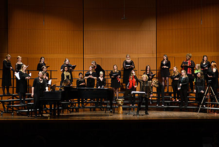 Photo: MSU Women's Chamber Ensemble, conducted by Sandra Snow.
