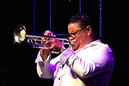 portrait, Tanya Darby performing, jazz trumpet