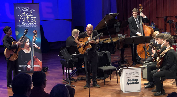Jazz guitarist Mark Whitfield performs at the Carr Center in Detroit in Dec. 2018 as part of the MSU Federal Credit Union Jazz Artist in Residence program.