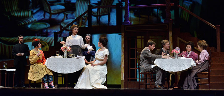 "MSU Opera Theatre cast members on the Fairchild Theatre stage for Fall 2015 opera, ""A Room with a View."""