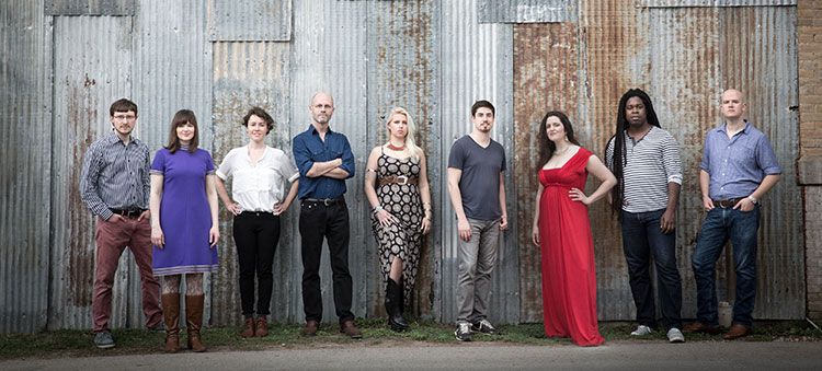 Group Photo: Roomful of Teeth, eight-member vocal arts chamber ensemble.