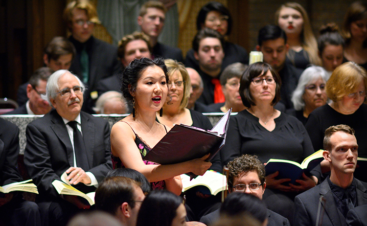 Soprano Tianxi Wang solos during the 2018 Peace, Joy & Songs of the Season concert.