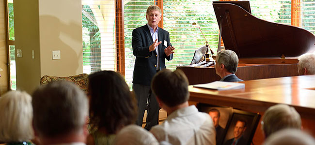 2017 Celebrating the Spectrum: Ian Gray, MSU's former Vice President for Research and Graduate Studies, speaks to recital attendees. image