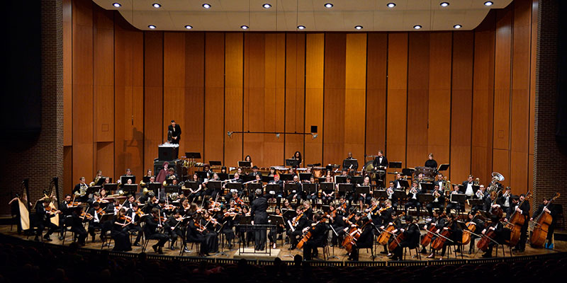 Photo: MSU Symphony Orchestra on stage of the Cobb Great Hall, Wharton Center for Performing Arts.