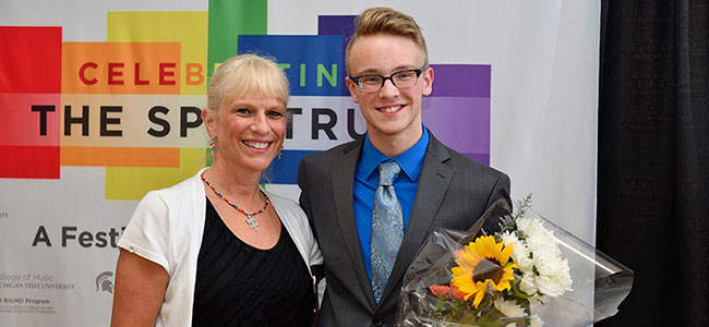2017 Celebrating the Spectrum pianists Kalil Olsen and his mother Ann after the concert. image