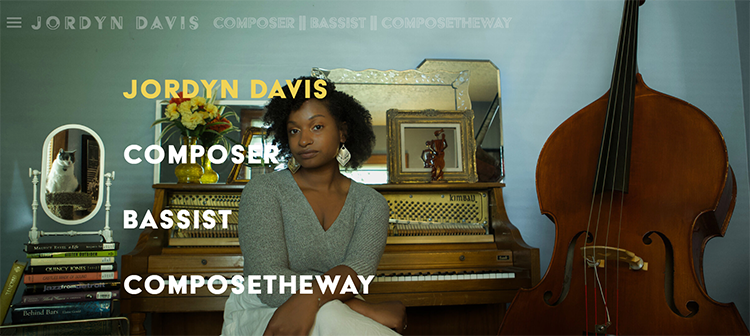 A screen shot of Jordyn Davis' home page. She is seated on a piano bench with a piano behind her and her upright bass on the right.