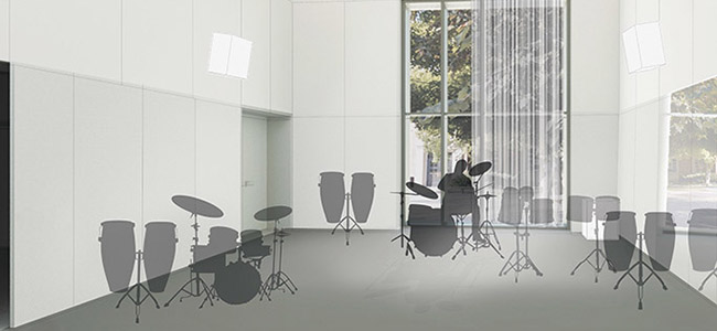 The Percussion Area will move from the basement to an 870 sq ft. two-story rehearsal hall, thanks to Marcella Schalon's generous support to name this transformational space. image