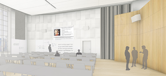 Room 120, the only large ensemble rehearsal hall, will be transformed into the Selma and Stanley Hollander Vocal Arts Hall for Choral/Opera and Student Recitals. image