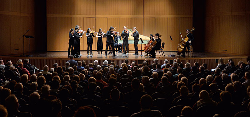 International chamber soloists on the Fairchild Theatre stage.