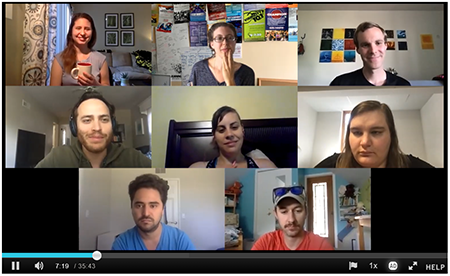 Screen shot of eight people in a zoon meeting.
