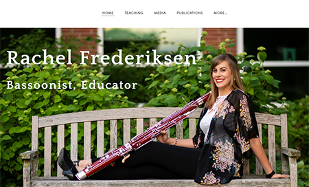 Screen shots of the home pages of Bell Coty, standing behind her harp, and Rachel Frederiksen, seated on a bench with her bassoon.