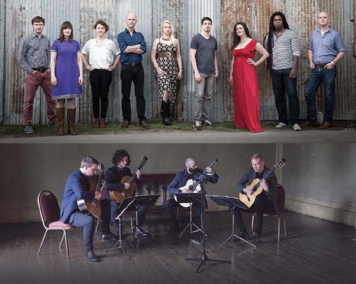 Ensemble photos. Top, Roomful of Teeth, eight-member vocal ensemble. Bottom, Dublin Guitar Quartet.