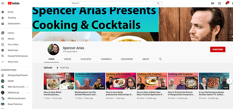 A screen shot of the YouTube page of Spencer Arias. A photo of him is in the upper right corner with tabs to all his videos across the screen.