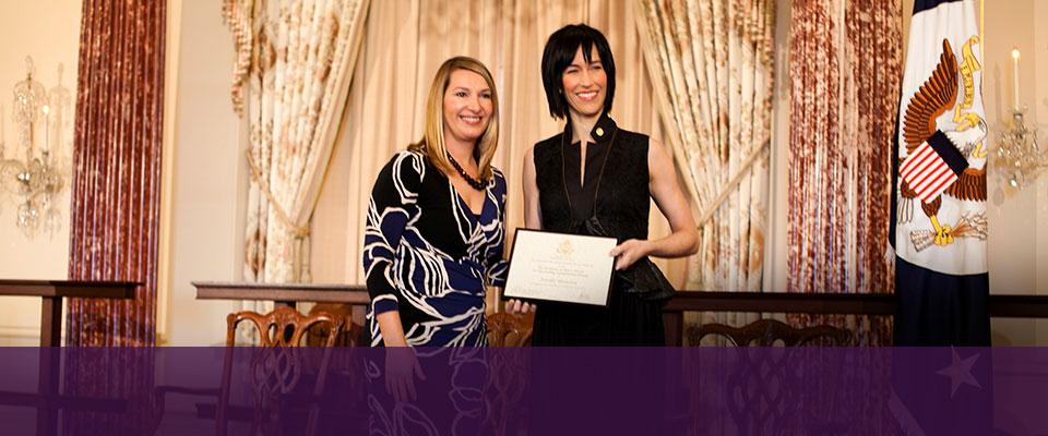 Alumna receives top award<br>for outstanding volunteerism