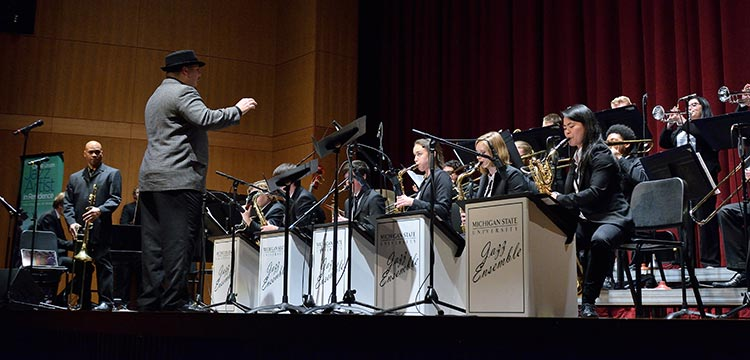 Photo: Jazz Orchestra II, conducted by Michael Dease on stage of the Fairchild Theatre