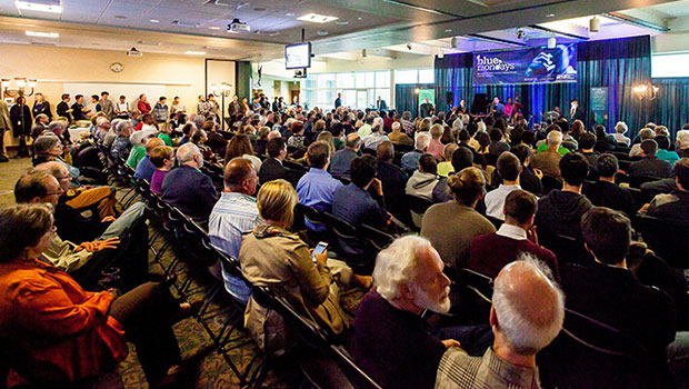 A full crowd observes Brian Lynch and the MSU Professors of Jazz at the Blue Mondays concert. image