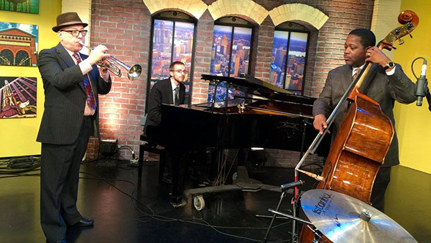 Brian Lynch with Rodney Whitaker performed at Fox 2 News studios in Detroit.  image