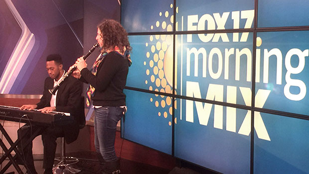 Anat Cohen with College of Music Jazz Studies student Gerand McDowell on WXMI 17 in Grand Rapid. image