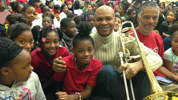 Robin Eubanks with students from the Shabazz Academy in Lansing. image