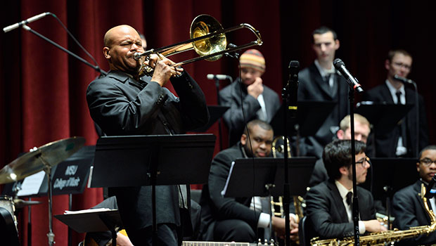 Robin Eubanks, jazz trombone, performs with MSU Jazz Orchestra I at the Fairchild Theatre. image