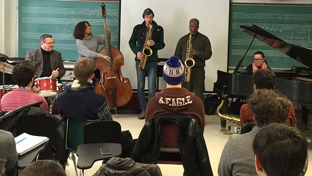 Tim Froncek and Vincent Bowens work with MSU Jazz Studies students at a master class during their residency. image