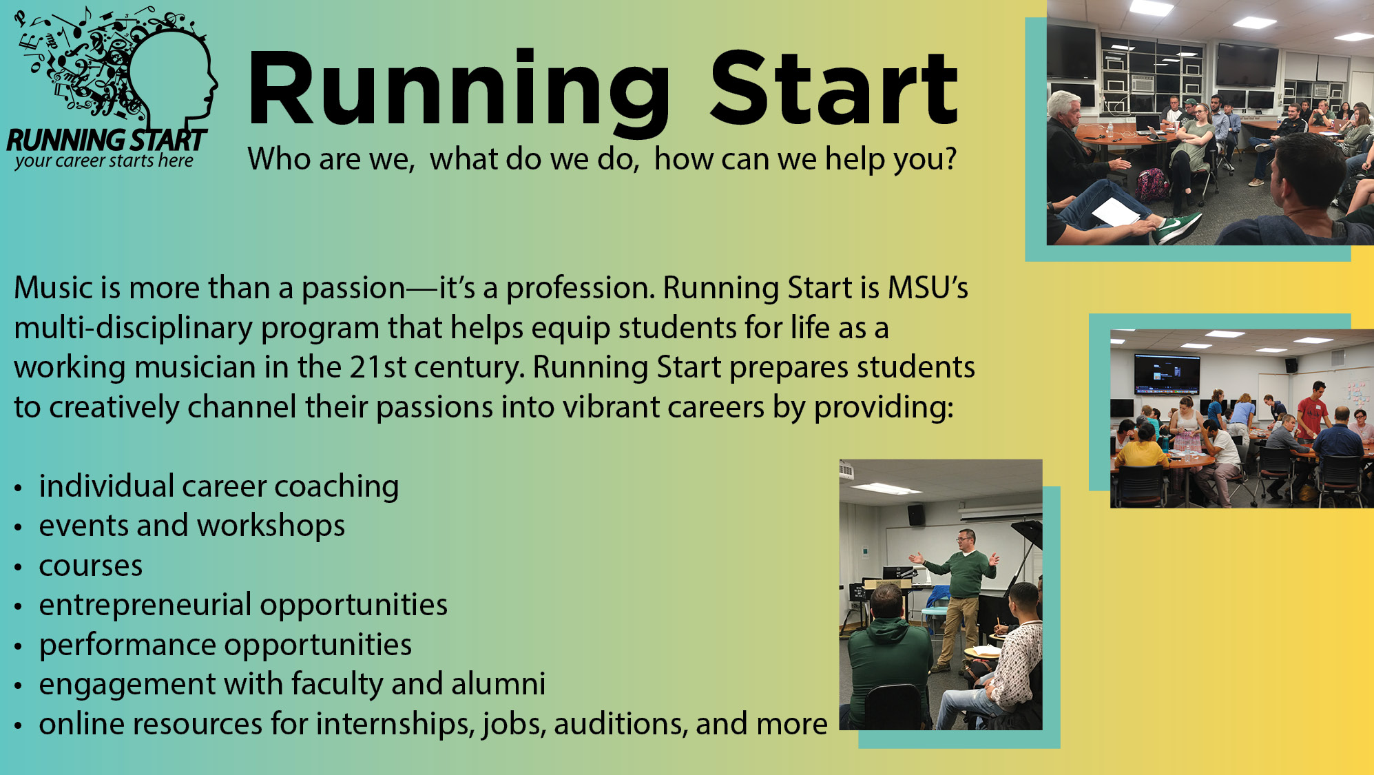 New to MSU? Drop by and say hi, Music Practice Bldg 202! image